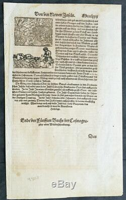 1588 Sebastian Munster Antique Map of Africa, Source of Nile & Cannibals
