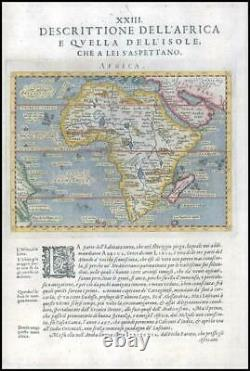 1597/8 Antique Map of AFRICA with ARABIAN PENINSULA & Brazil by Magini (G4)