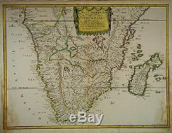 1655 Genuine Antique hand colored map of Southern Africa, Madagascar. N. Sanson