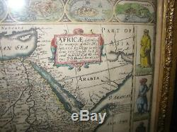 1676 AFRICA Map John SPEED First English Map of Africa Framed in 1890 RARE
