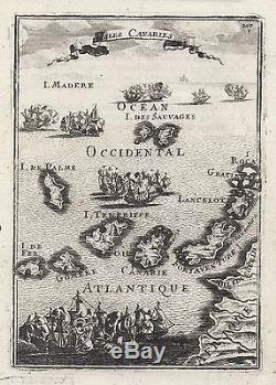 1683 Canary Islands Tenerife Lanzarote 17th Century Copper Plate Map Mallet