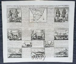 1719 Henri Chatelain Rare Antique Map, Peoples, Animals & Views of South Africa