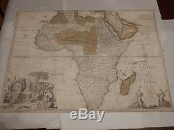 1720 Map Chart Of Africa Slave Trading Era & Dedicated Issac Newton