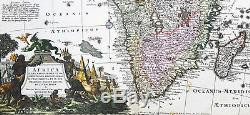 1730 Georg Mattraus Seutter Large Antique Map of Africa, beautiful hand colour