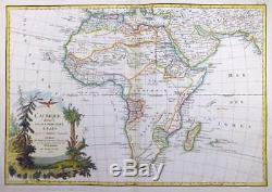 1762 Original Decorative Antique Map of AFRICA AFRICAN CONTINENT by Janvier