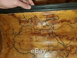 1822 Map Of Africa. Original, Hand Colored, Canvas, Early School Folk Art