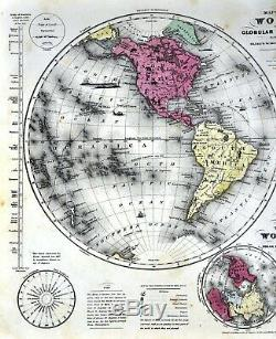 1844 Smith Map World in Hemispheres Europe Asia Africa North South America Olney