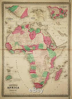1864 Genuine Antique Hand Colored Map of Africa. Johnson