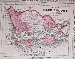 1864 big AFRICA MAP Johnson's insets Liberia Cape Colony Cape Verde St Helena