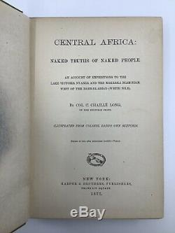 1877 Antique Travelogue Central Africa Expedition Long Tribal People Folding Map