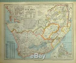 1881 Letts Map South Africa Cape Colony Orange Free State Transvaal Cape Town