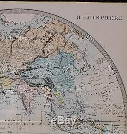 1884 Letts Map The World Eastern Hemisphere Africa Europe Chinese Empire India