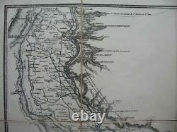 1884 SOUTHERN EGYPT NILE HYDROGRAPHY French Map after LINANT DE BELLEFONDS