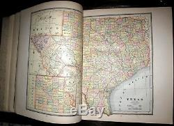 1887 Crams ATLAS Color Maps ANTIQUE United States EUROPE Africa AMERICAN HISTORY