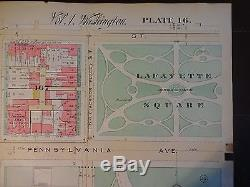 1892 Map of NW DC- White House Area Rare large property specific detail