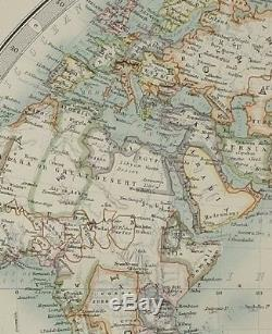 1895 Large Antique Map The World In Hemispheres Western & Eastern Africa Asia
