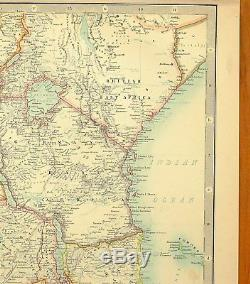 1899 Large Antique Map Central Africa Cong Free State Cameroons British East