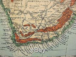 1902 Large Antique Map Africa Orographical Land Heights Egypt Sahara