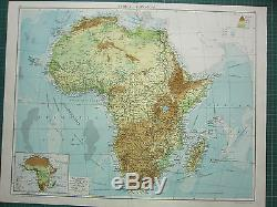 1919 Large Map Africa Land Heights Physical Rhodesia Mean Annual Rainfall