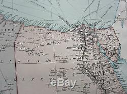 1919 Large Map Africa North East Egypt Libya Anglo-egyptian Sudan Suez Canal
