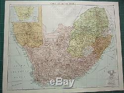 1919 Large Map Union Of South Africa Cape Of Good Hope Natal Orange Free State