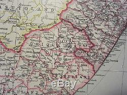1933 Large Map Union Of South Africa Cape Town Orange Free State Transvaal
