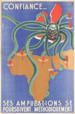 1942 SPK Vichy French Anti-British Octopus Propaganda Poster Map