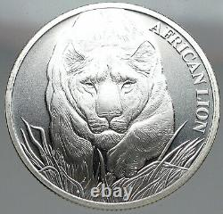2017 CHAD African Lion Map Antique OLD Genuine Silver 5000 Francs Coin i83150