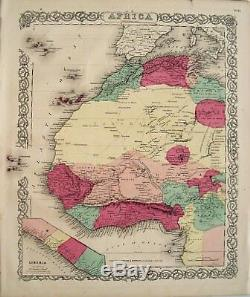3 Antique Maps of Africa Original Hand Colored Engraved Maps Colton, 1855