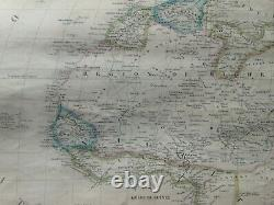 AFRICA by DUFOUR 1841 LARGE ANTIQUE ENGRAVED WALL MAP ON LINEN 19th CENTURY