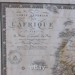 Africa 1828 Brue linen backed map Mts. Of Moon