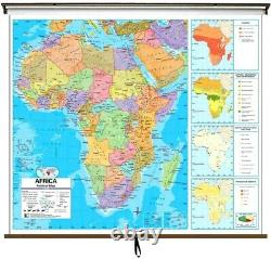 Africa Advanced Political Classroom Roll-Up Wall Map W 64in x H 54in NOB School