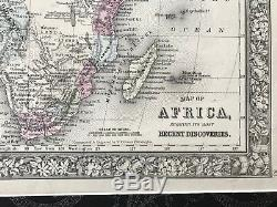 Africa Map by S. Agustus Mitchell 1860 Original hand colored 16x20Frame/Mat