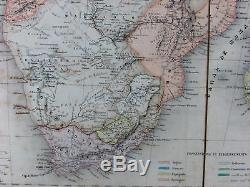 Africa Mountains of Moon Kong Cape Colony Hottentots c. 1870 linen Goujon map