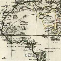 Africa continent mountains of the Moon empty interior 1804 Tardieu scarce map