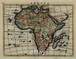 African Continent imaginary features 1713 Moll miniature map lovely hand color