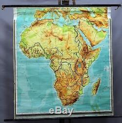 African vintage map pull-down wall chart poster print