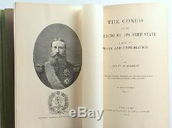 Antique Africa Congo Stanley 1st Edition 1885 Profusely Illustrated MAPS Belgium