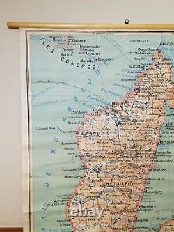 Antique French 1954 Wall Map of Madagascar Denoyer Geppert Paris Africa 50 Tall