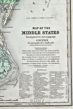Antique Hand Colored MAP MIDDLE STATES Smith's Geography 1839 Daniel Burgess