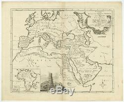Antique Map-ANCIENT WORLD-EUROPE-AFRICA-ARABIA-TOWER OF BABEL-Bachiene-1764