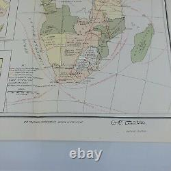 Antique Map Africa Political Divisions Commercial Routes 1899 Steamship Railroad