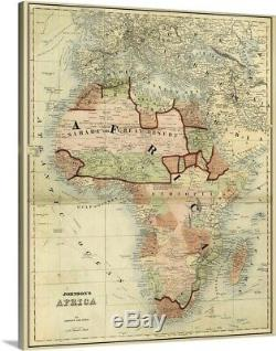 Antique Map of Africa Canvas Wall Art Print, Home Decor