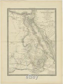Antique Map of Egypt and Nubia by Lapie (1842)