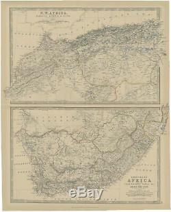 Antique Map of North and South Africa by Johnston (1882)