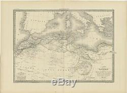Antique Map of the Barbary Coast by Lapie (1842)