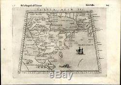 Arabia Middle East Africa sea monster sailing ship 1599 Ruscelli antique map