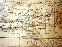 Beautiful Antique French Map of Continent of Africa Afrique Dufour Paris c1850