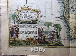 Beautiful Vintage Hand Colored English Map Of Africa 1740
