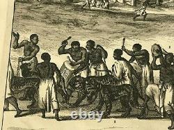Benin Guinea Africa 1677 Dapper Large Rare Antique Engraved View 17th Century